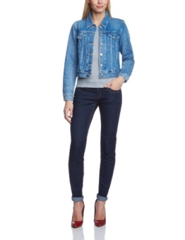 Levi's Damen Jacke Authentic Trucker, Small, Blau (Moonshine) -