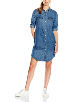 Levi's Damen Kleid LS Iconic Western Dress, Blau (San Francisco Medium 4), 36 (Herstellergröße: M) -