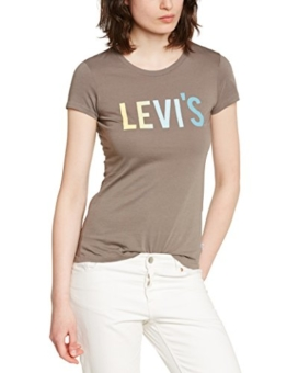 Levi's Damen T-Shirt Slim Crew Neck, Small, Grau (Bay Breeze) -